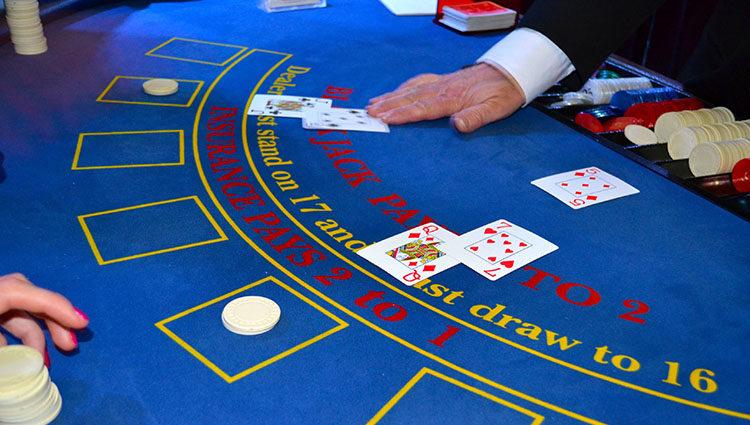 blackjack table in casino